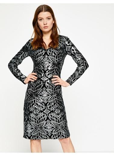 Koton Uzun Kollu Desenli Elbise Siyah